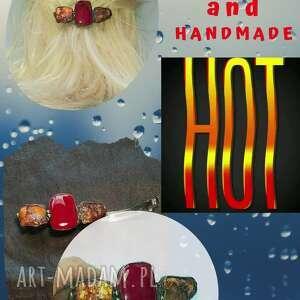 handmade ozdoby do włosów prezent. Spinka bursztynowo-szklana, prawdziwy handmade