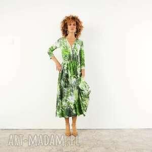 sukienki amelia - dżungla rozkloszowana sukienka, koktajlowa, elegancka