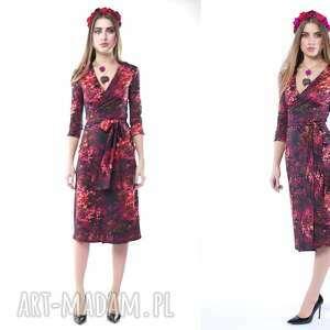 sukienki pani jesień - kopertowa sukienka, kolorowa, kopertowa, wygodna