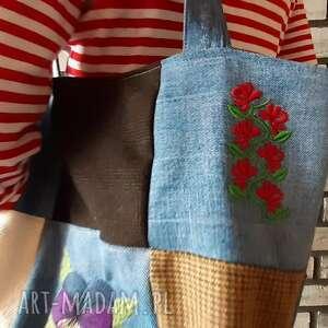 święta, patchworkowa z haftem, patchwork, haft, jeans