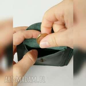 hand made portfele skórzana banknotówka ciemnozielonego kolory