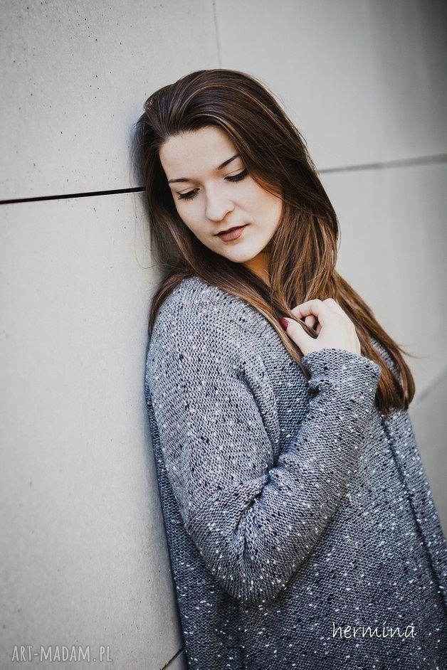 ręcznie zrobione swetry sweter szary melanżowy