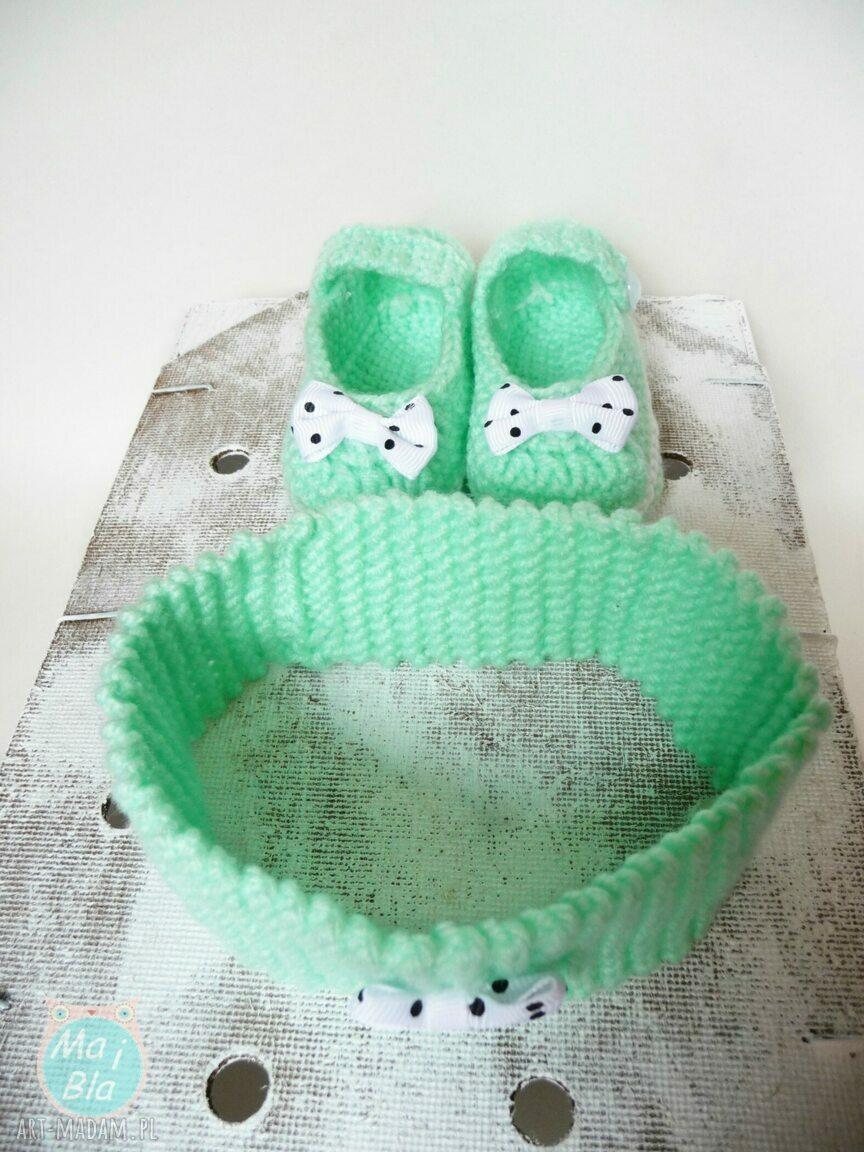 ręcznie robione buciki komplet miętowy z kokardką
