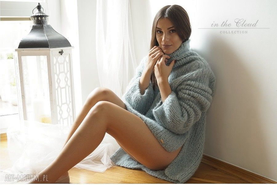 ręczne wykonanie swetry sweter oversize w bladej morskiej zieleni