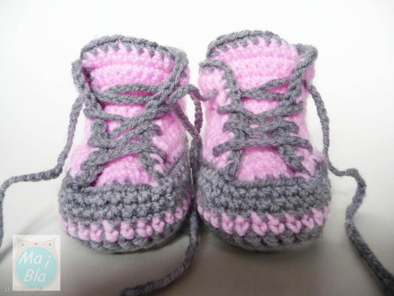 hand-made buciki buciki szydełkowe trampki różowe