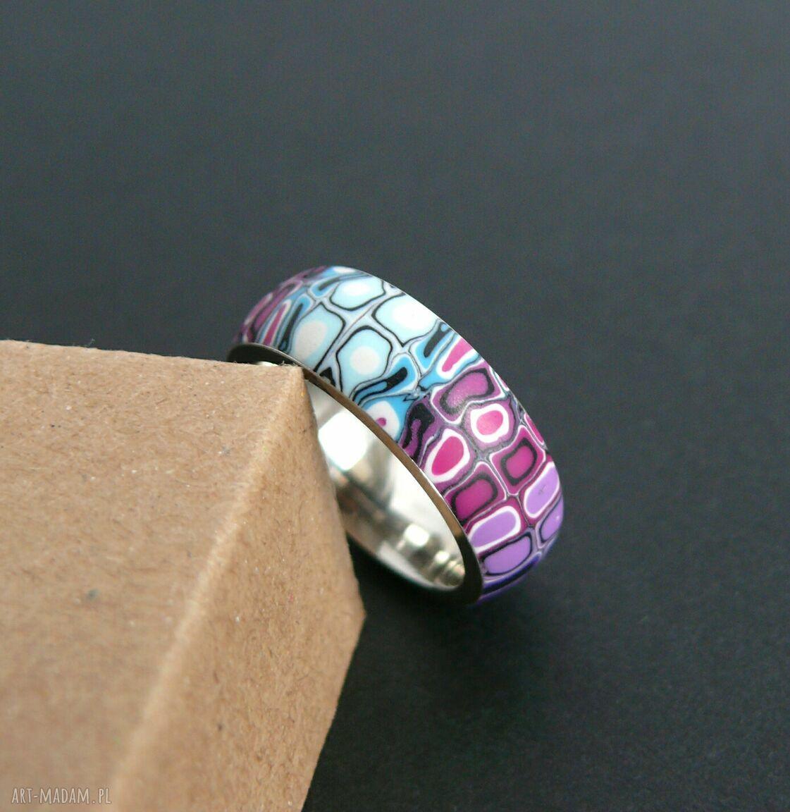ręcznie zrobione obrączki stalowa obrączka z polymer clay