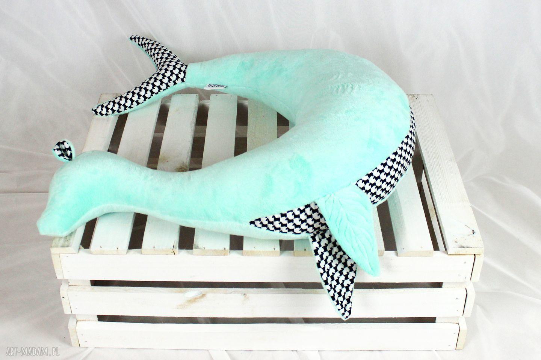 białe maskotki rogal foka sara mint - poduszka do
