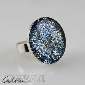 błękitna laguna - pierścionek, pierścień, duży, brokat