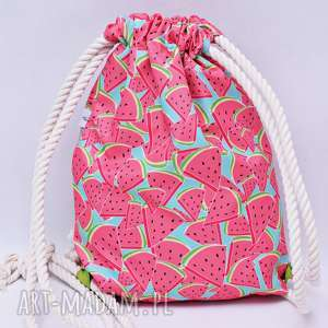 Worek plecak wodoodporny arbuzy z limonkową podszewką, worek, plecak, torba,