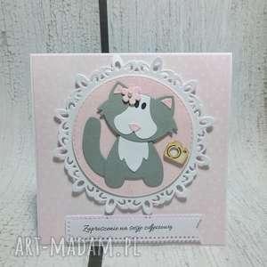zaproszenie kartka wlazł kotek - kot, zaproszenie, urodziny, chrzest, sesja