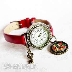 folk birds zegarek damski z zawieszką, skóra, ekologiczna, ptaki, ludowy, folkowy