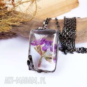 kwiat w szkle - wisiorek - suszone-kwiaty, kwiaty, natura, boho, wisior, szklany