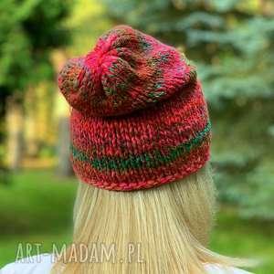 czapki kolorowa czapka, na drutach, wełniana ziomowaczapka