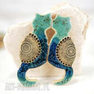 Ceramiczne koty turkusowe bliźniaki - magnes na lodówkę magnesy