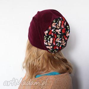 Prezent czapka damska dresowa aksamitka sportowa, czapka, aksamitka, lisek, prezent