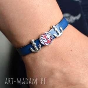 ręcznie wykonane bransoletka skórzana magnetoos uno anchor cabo niebieska