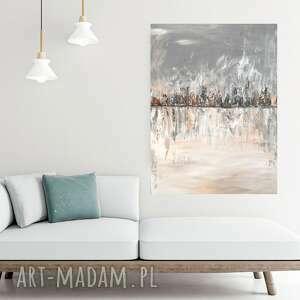 obraz ręcznie malowany na płótnie 80x60, pastelowy, abstrakcja