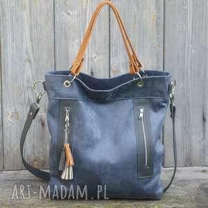 Torba niebieska plus skóra żółta, torebka, alkantara, skóra, praktyczna, pojemna