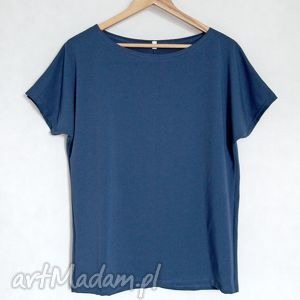 Gładka koszulka bawełniana oversize L/XL navy blue, bluzka, komonowa