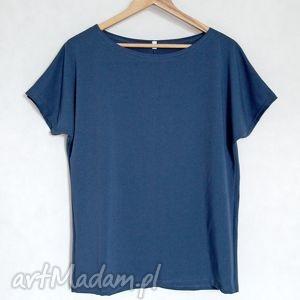 handmade bluzki gładka koszulka bawełniana oversize l/xl navy blue