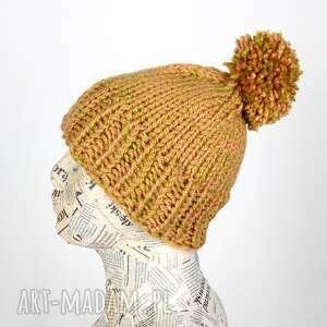 czapki musztardowa wełniana czapka z pomponem, czapka, wełna, ciepła, beanie