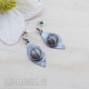 Krzemień w markizach jewelsbykt srebrna biżuteria, kolczyki