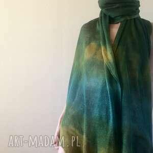 hand made szaliki lniany szal w zielonościach z kapką musztardy
