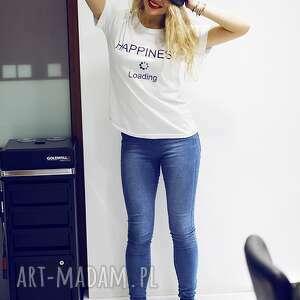koszulki koszulka t-shirt bluzka biała z napisem happiness, biała, bawełniana