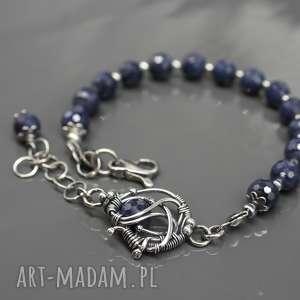 Bransoletka z szafirami Sapphire Sky , bransoletka, szafir, wire-wrapping