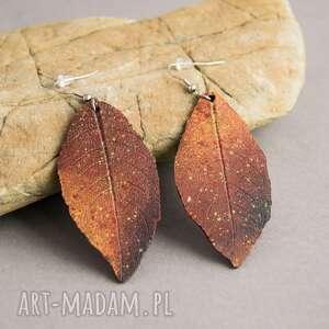 Prezent Ogniste kolczyki liście, na-prezent, kolczyki, polymerclay, malowane, ogień,