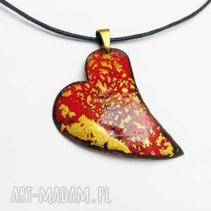 wisior emaliowany z 24ct złotem płatkowym, walentynki, serce, złoto, emalia