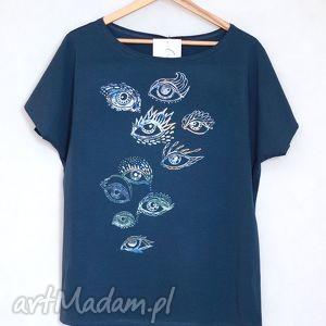 SPOJRZENIA koszulka bawełniana oversize L/XL blue, bluzak,