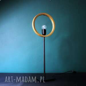 lampa stołowa eye, lampa, biurkowa, złota, okrągła, geometryczna, metalowa