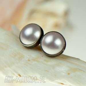 Prezent d79 Srebrne Drobinki z perłami Swarovskiego, srebrne-sztyfty