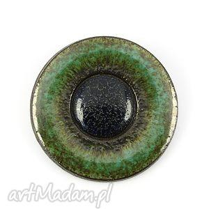 leśna - broszka, ceramika, okrągła