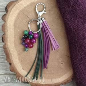 brelok z kamieniami naturalnymi - lavender iii, zawieszka do torebki
