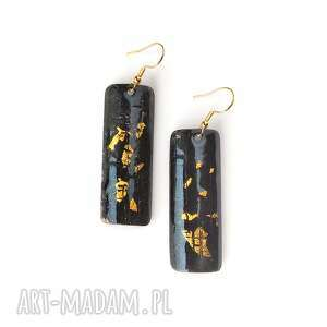 kolczyki emaliowane plus złoto płatkowe 24ct