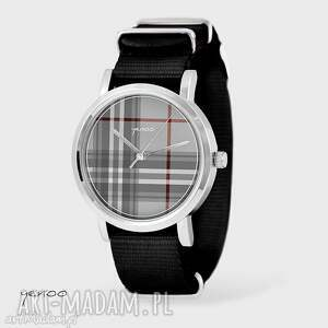 zegarek, bransoletka - szkocka krata czarny, nato, bransoletka, nato