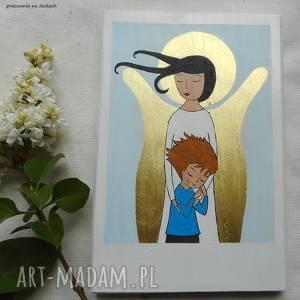 ręcznie zrobione dla dziecka anioł stróż pmiątka chłopca