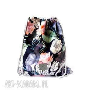 Worek plecak welurowy czaple sabi tatka plecak, worek, kwiaty