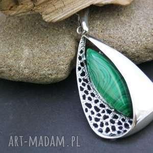wisiorek srebrny z malachitem - zawieszka - wisiorek, zawieszka, srebrna, ażurowa