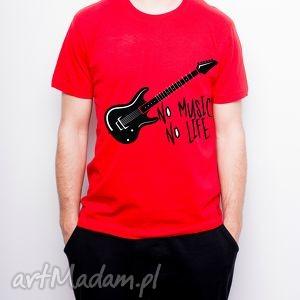 koszulka męska czerwona no music life, tshirt, prezent, muzyka, styl