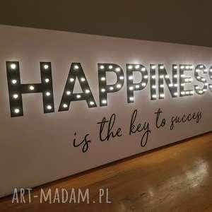 obraz led z cytatem happiness is the key to success napis litery prezent urodziny 18