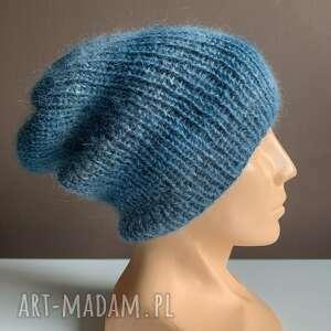 ręcznie robiona czapka hand made turkus ściągacz 100 alpaka nitka moher
