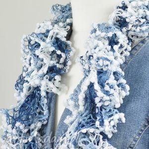 fantazyjny szal - zimowy - zimowy, niebieski, modny, designerski, ciekawy, kobiecy