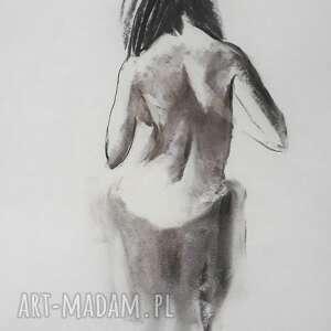 rysunek kobieta 60x45, czarno biała grafika, obraz kobieta, akt