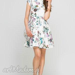 Sukienka ze stójką, SUK143 kwiaty, midi, wzór, kieszenie, stójka, rozkloszowana