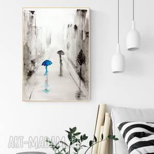 obrazy grafika 50x70 cm wykonana ręcznie, turkus, abstrakcja, elegancki minimalizm, obraz do salonu