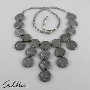 grosiki 2 - naszyjnik - naszyjnik, kolia, recykling, monety, grosze, metalowy
