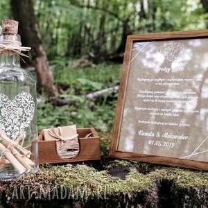 rustykalna księga gości - butelka wspomnień, ślub, gości